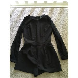 Forever 21 - black romper with mesh sleeves